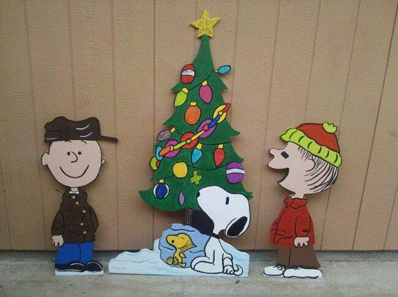 christmas charlie brown holiday wooden yard art personalized sparkle and glittery