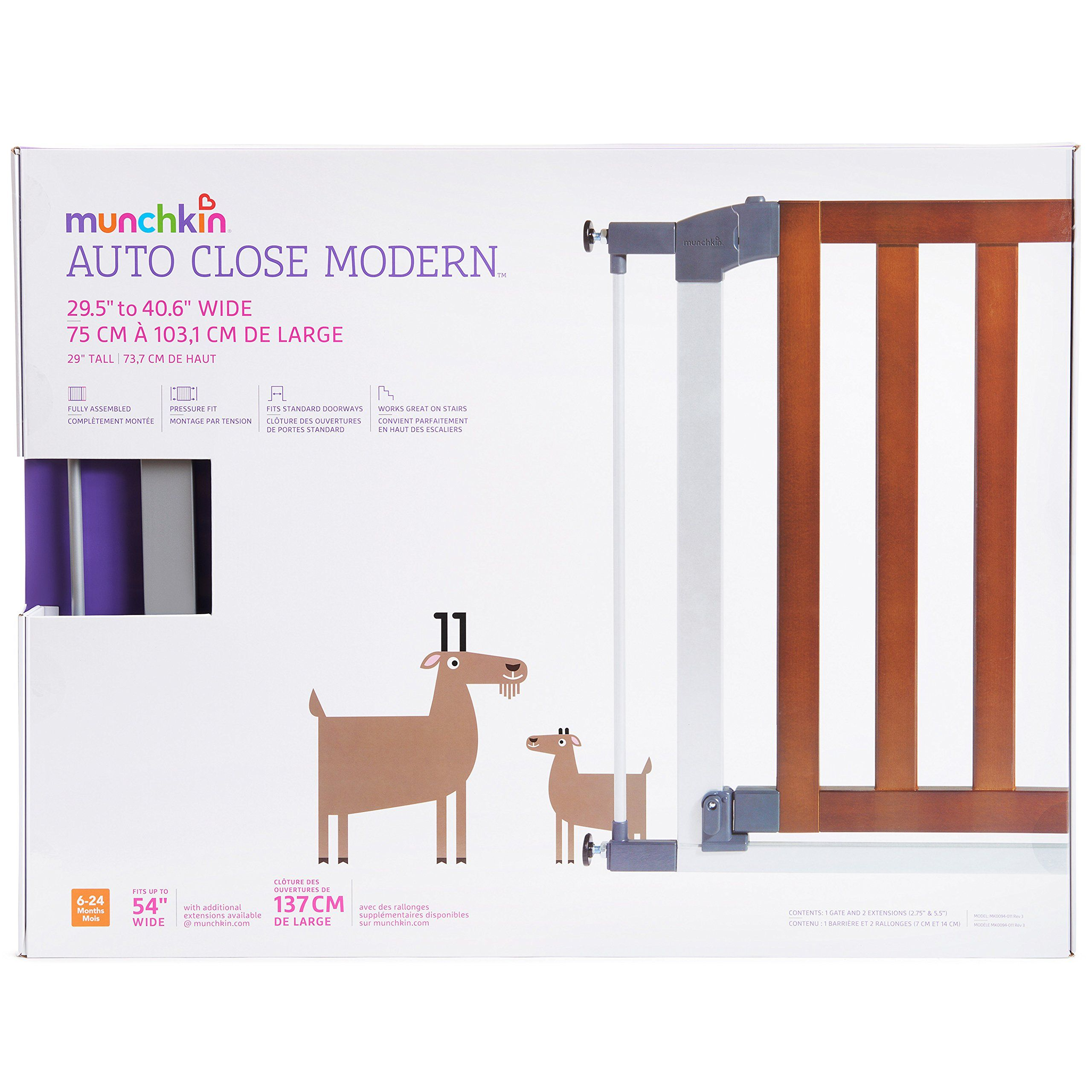 Model MK0094-011 Dark Wood//Silver Metal Munchkin Auto Close Modern Baby Gate