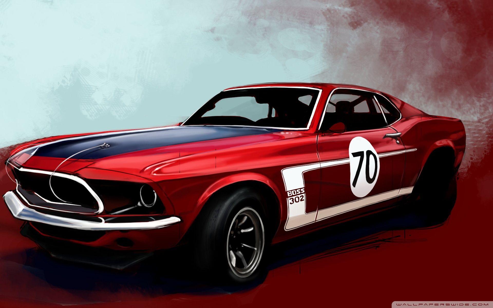 Ford Mustang Boss 302 Classic Car Hd Desktop Wallpaper Ford Mustang Boss 302 Sports Car Wallpaper Muscle Cars