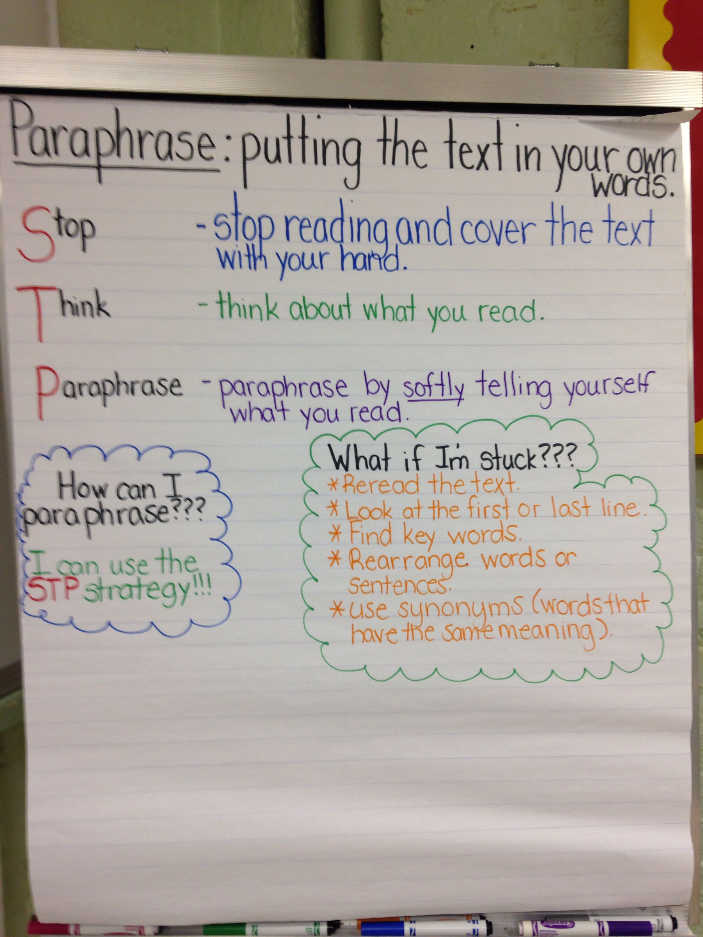 Anchor Chart Paraphrasing With Stp I Used This For A Mini Lesson For The Fourth Grade Research