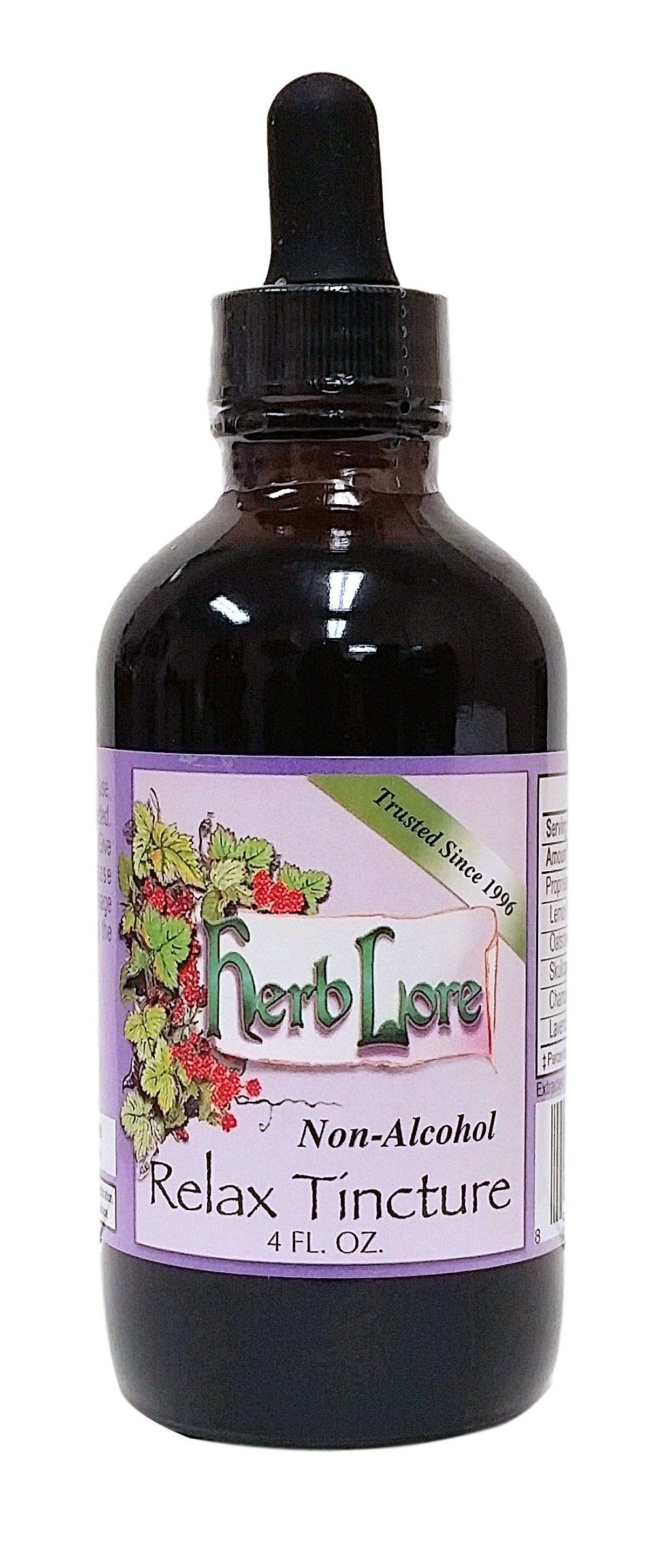 Herb Lore Organic Herbal Relax Tincture - 4 oz - Non-Alcohol - Safe Stress Relief for Children and Pregnant Women -- Awesome products selected by Anna Churchill