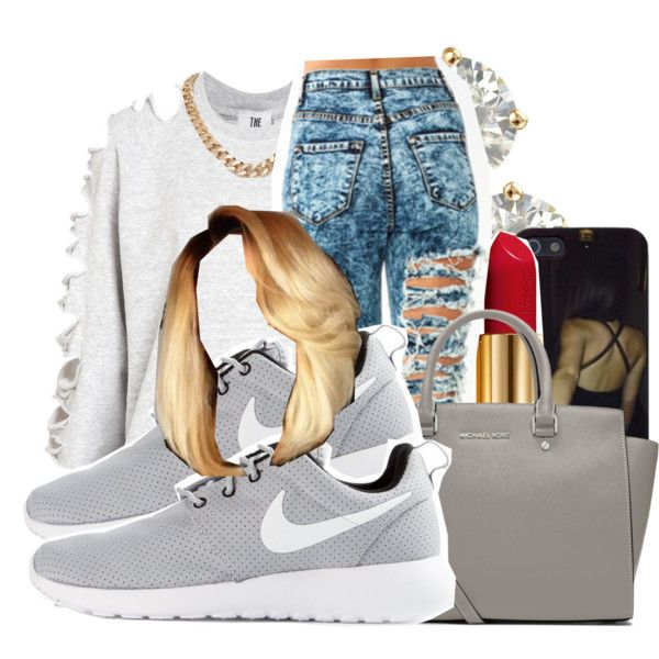 4/4/15 by xtaymaxlovesxmisfitx on Polyvore featuring The Ragged Priest, NIKE, MICHAEL Michael Kors, Auriya and Yves Saint Laurent