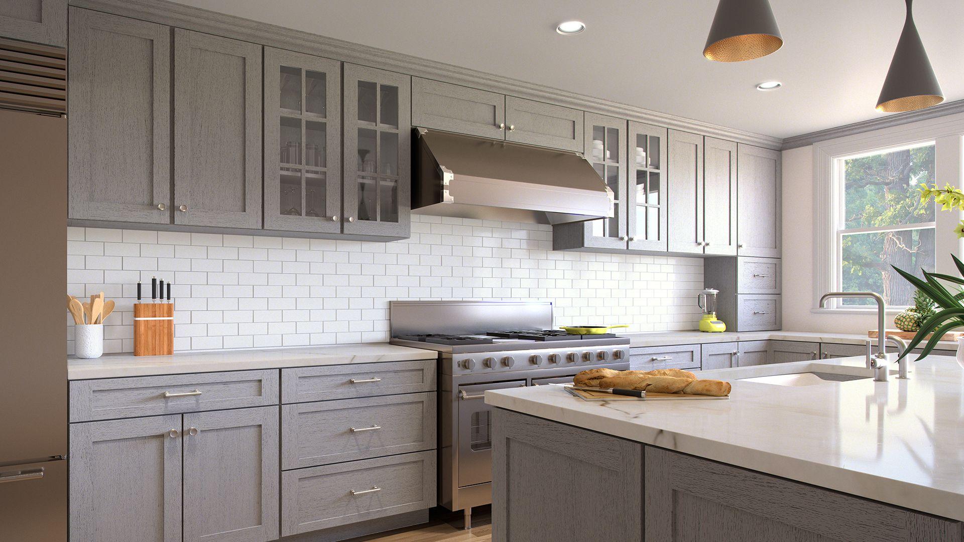 Forevermark Nova Light Grey Waverly Cabinets In 2020 Stained Kitchen Cabinets Kitchen Cabinetry Design Custom Kitchen Cabinets