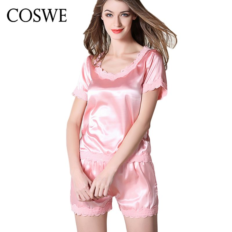 35c6d2958e COSWE Womens Satin Silk Pajamas Set For Women Lesbian Shorts Sets Ladies  Short Pijamas Female Pyjamas