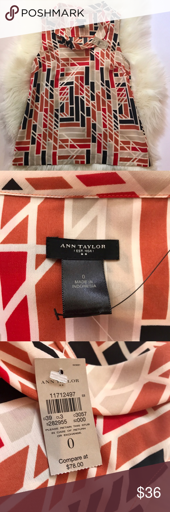 Ann Taylor Sleeveless Top Cute geometric pattern small Cowl neck detailing. 100% polyester feels thick and sturdy more like a cotton linen blend, goes with about anything NWT Size 0 Ann Taylor Tops