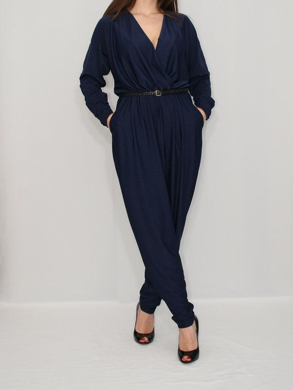 6e2e74e094f Long sleeve Jumpsuit Navy Jumpsuit Batwing Jumpsuit by KSclothing ...