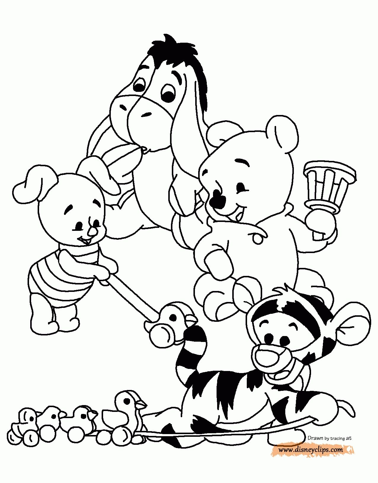 Baby Pooh Printable Coloring Pages Disney Coloring Book