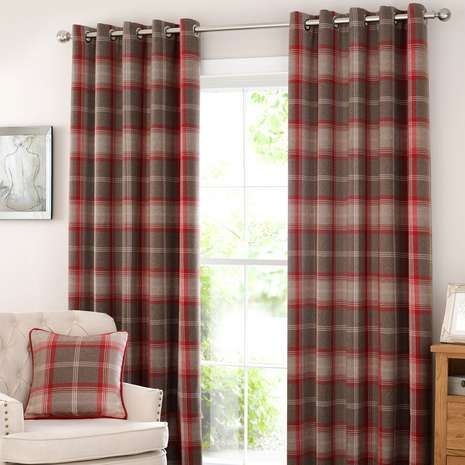 Highland Check Red Eyelet Curtains Dining Room Design Curtains