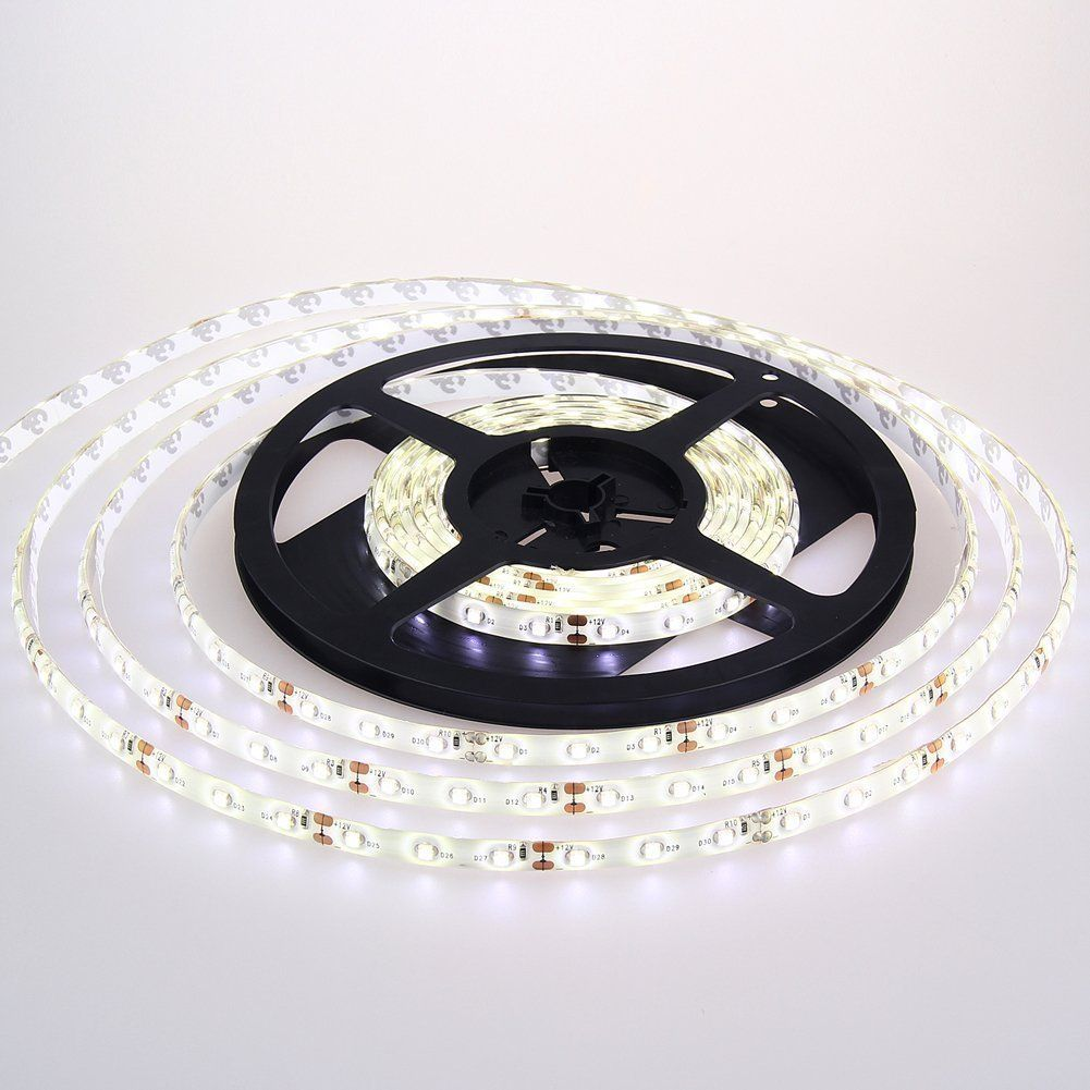 Amazon Com Led Strip Light Waterproof Led Flexible Light Strip 12v With 300 Smd Led 3258 16 4 Foot 5 Me Led Strip Lighting Strip Lighting Led Rope Lights