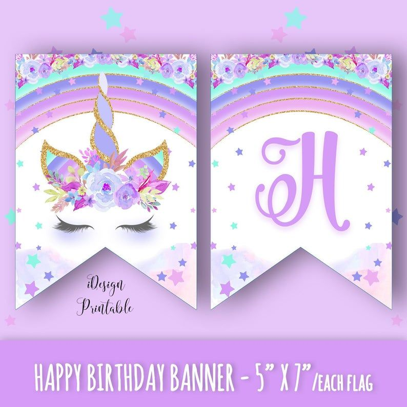 Unicorn Happy Birthday Banner, Rainbow Unicorn Birthday Banner Instant Download, Printable Unicorn Banner, Unicorn Garland, Happy Birthday - Happy birthday banners, Birthday banner, Rainbow unicorn birthday, Unicorn birthday, Happy birthday, Banner - iDesignPrintable  If You Need Any Help, Please Just Contact me! )
