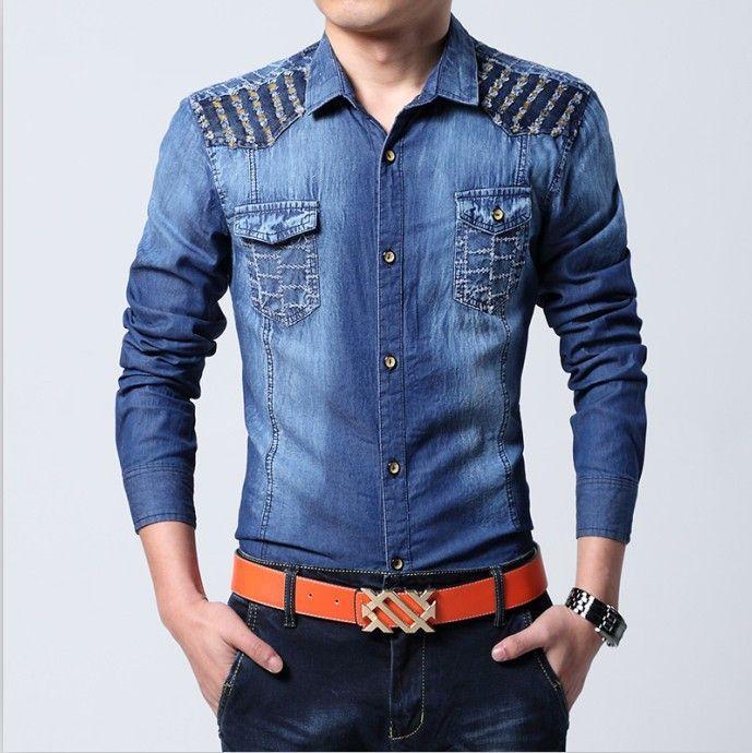 New Arrivel 100% Cotton Men Jeans Shirt Men Casual Shirt Slim Fit Long-Sleeves Denim Clothing men's casual denim shirts