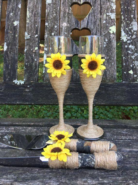 Camo Wedding / Sunflower Wedding Cake Serving Set # ...