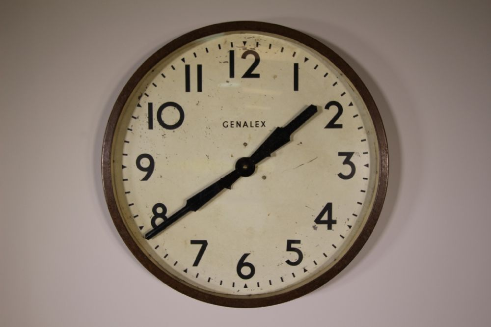 Large English 1930 S Genalex Factory Wall Clock In 2020 Wall Clock Clock Metal Clock