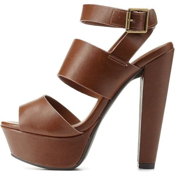 c3acf80395a Charlotte Russe Cognac Ankle Strap Platform Chunky Heels by ...