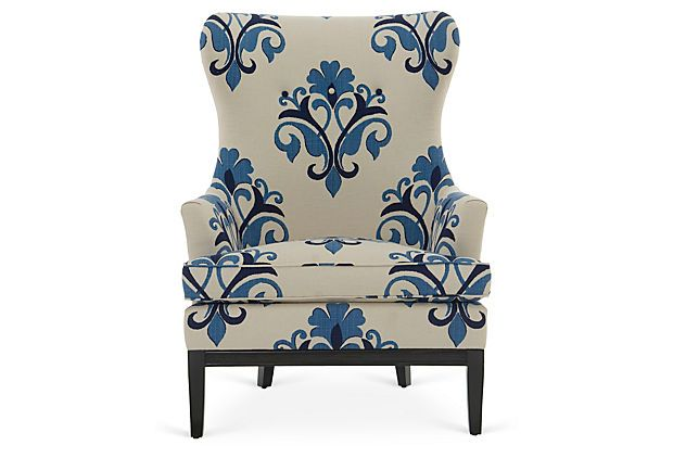 One Kings Lane - Blue, Cream & Mahogany - Calhoun Chair, Blue