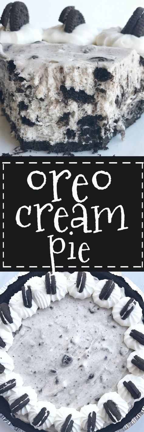This Oreo cream pie will be one of the easiest desserts you'll ever make  An Oreo cookie crust filled with a cream Oreo filling  Top with additional whipped cream and Oreos for the ultimate Oreo Cream is part of Oreo recipes -