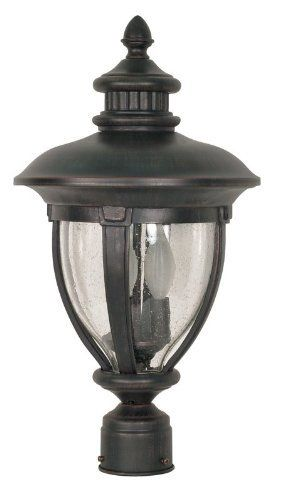 Nuvo 60 960 Post Lantern With Clear Seed Glass Old Penny Bronze By Nuvo 63 99 Old Penny Bronze Outdoor Flush Mount Lights Flush Mount Lighting Lantern Post