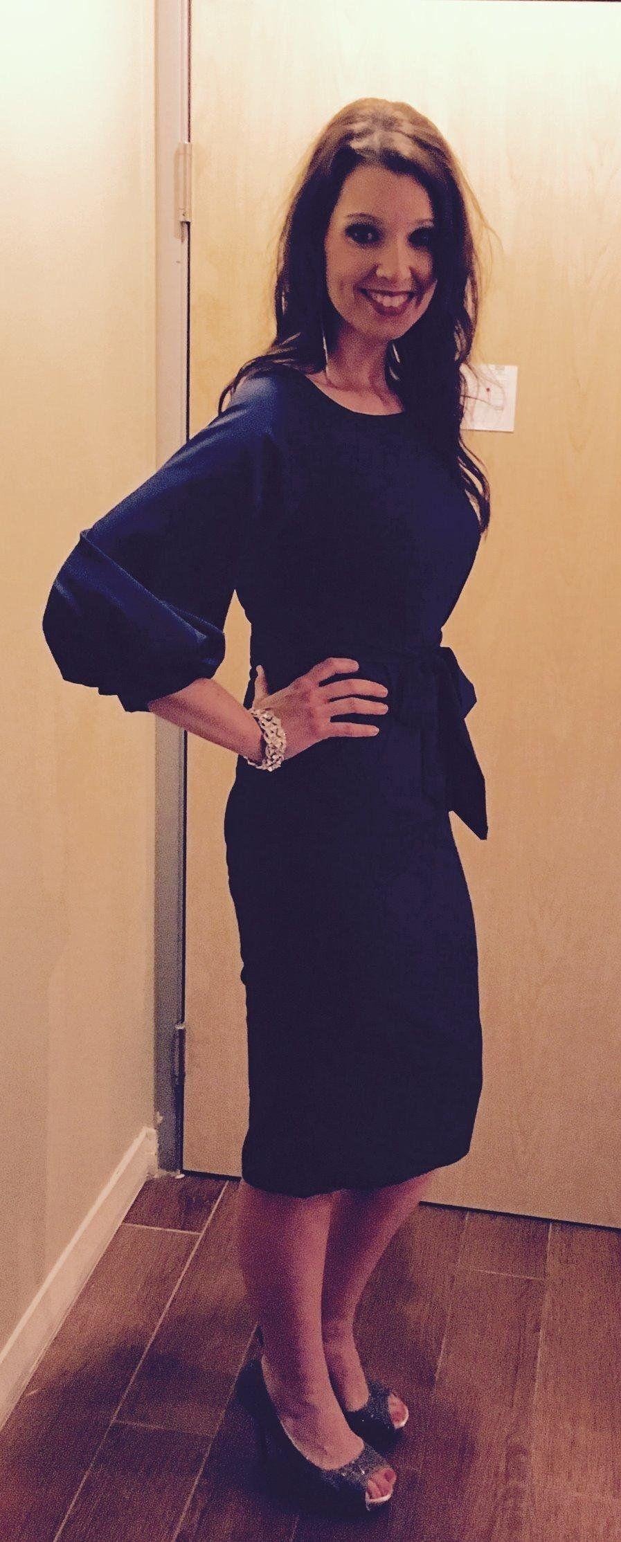 Omine womens lantern sleeve navy blue wear to work with belt dress