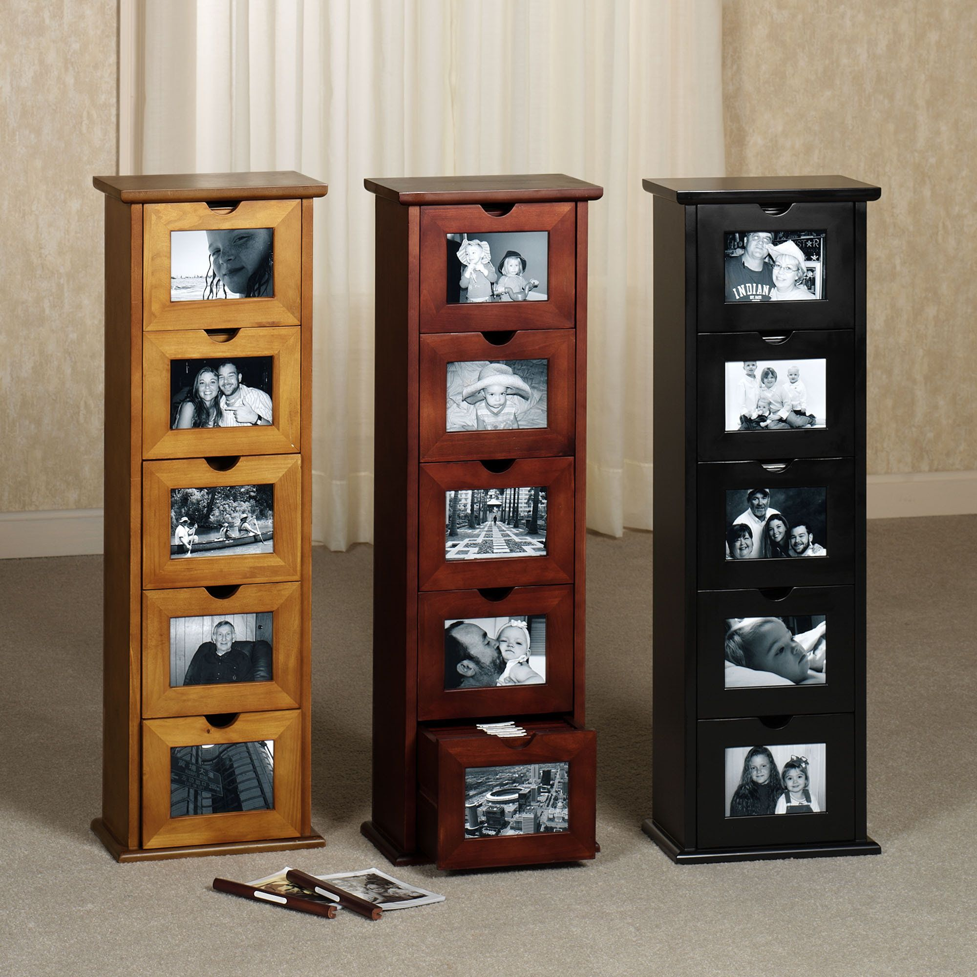 Jackson Photo Cabinet Wooden Storage Has 5 Drawers Each Drawer Contains Als With 14 Sleeves Front And Back To Hold 4 X6 Photos