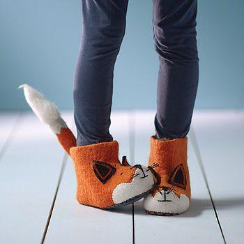 a6595556c adult finlay fox felt slippers by sew heart felt | notonthehighstreet.com