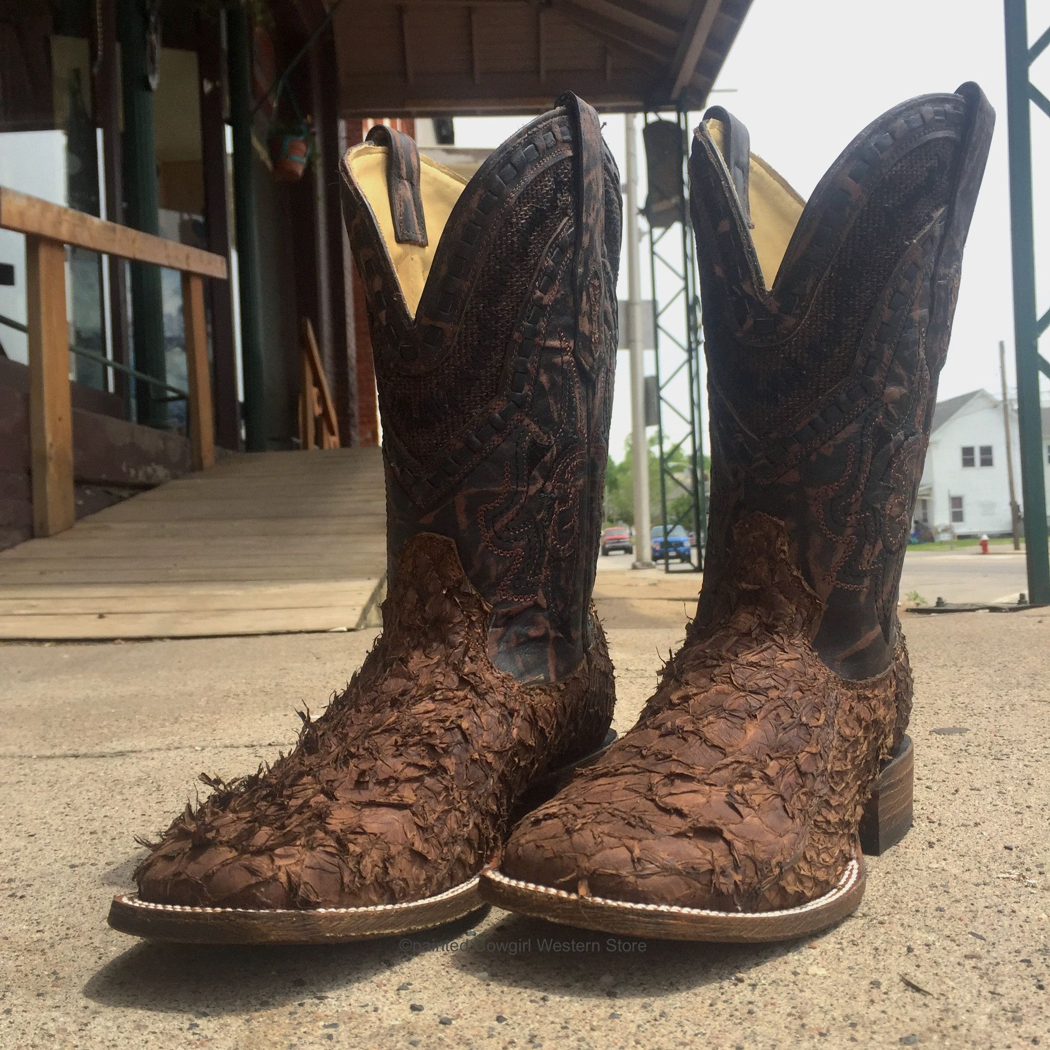 Corral Men's Brown Gnarly Fish Sq Toe Western Boots A3086