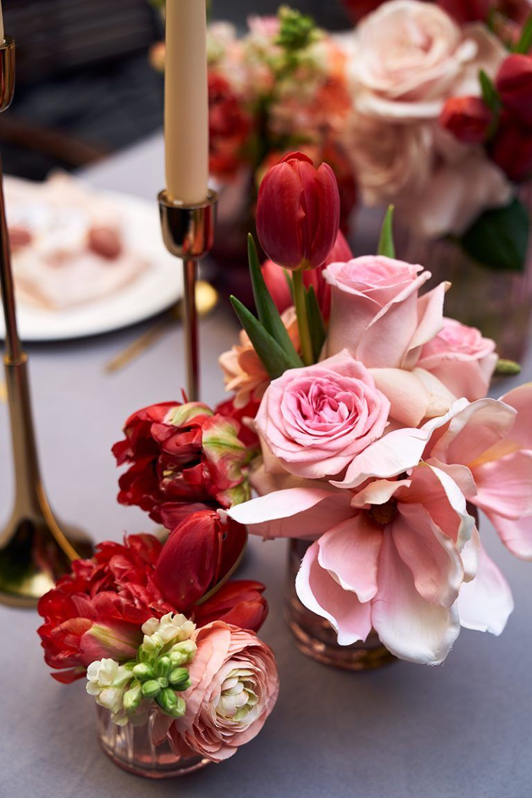 Inspiration In Living Coral Table Decoration Wedding