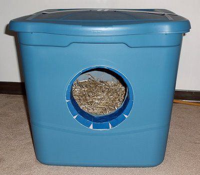Insulated Cat House Made From Two Rubbermaid Containers