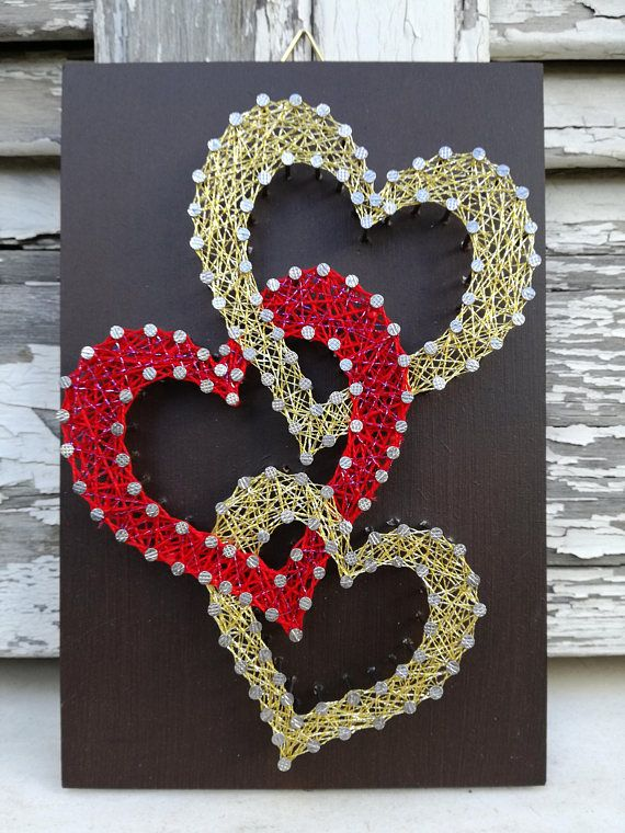 Handmade String Art Sign, Red and Gold Hearts, Perfect Valentine's Day or Anniversary Gift
