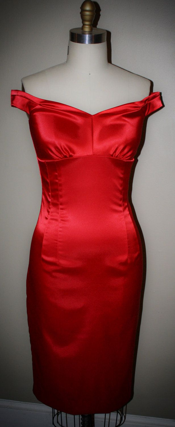 Pinup- Marilyn Style Wiggle Dress- Stretch Satin Off- Shoulder- Sexy ...