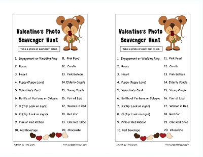 valentine's photo scavenger hunt- for the older kids at homeschool, Ideas