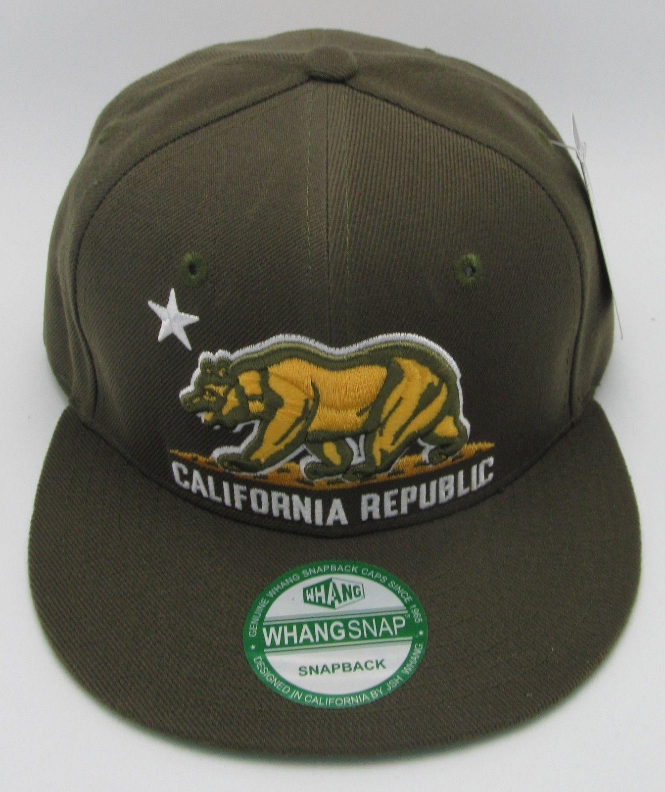 CALIFORNIA REPUBLIC Snapback Cap Hat CALI Bear Flag Army Green Caps Hats NWT