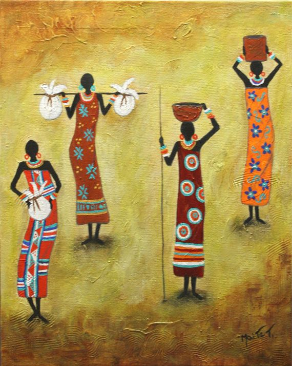 "Handmade,Original Art folk art painting, Latin American Art "" Enterprising Woman"" Painting  Abrstract Acrylic   African - By Maite Tobon"