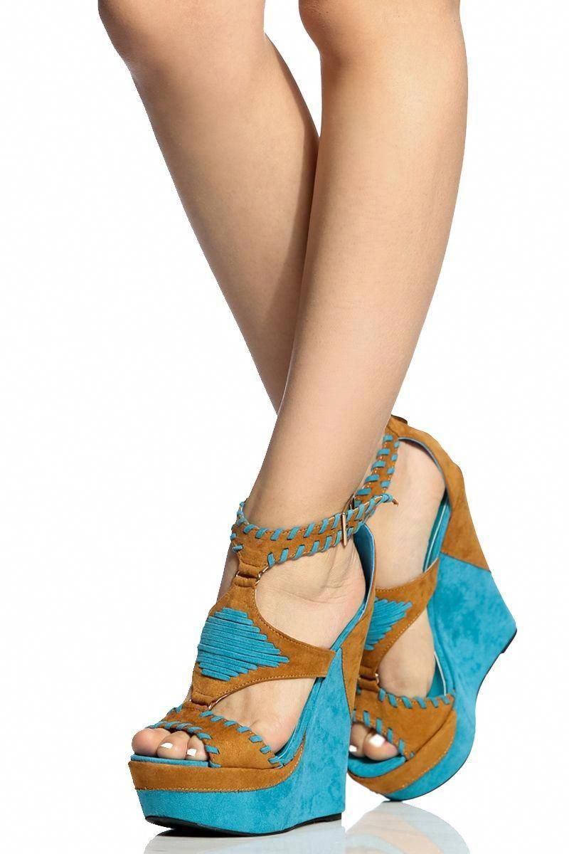 d4a992edb6a5 Camel Faux Suede Ethnic Wedges   Cicihot Wedges Shoes Store Wedge Shoes