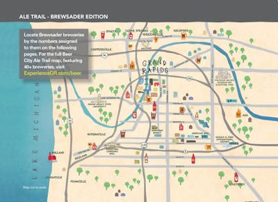 Grand Rapids Brewery Map Beer City Ale Trail Map in Grand Rapids | Wanderlust | Trail maps