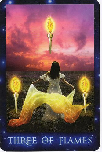 The Sirian Starseed Tarot- Three of Flames :  #TarotSweetDreams 3Wands- The world is an abundant place full of good things ripe for the plucking. We have but to choose & make our move.