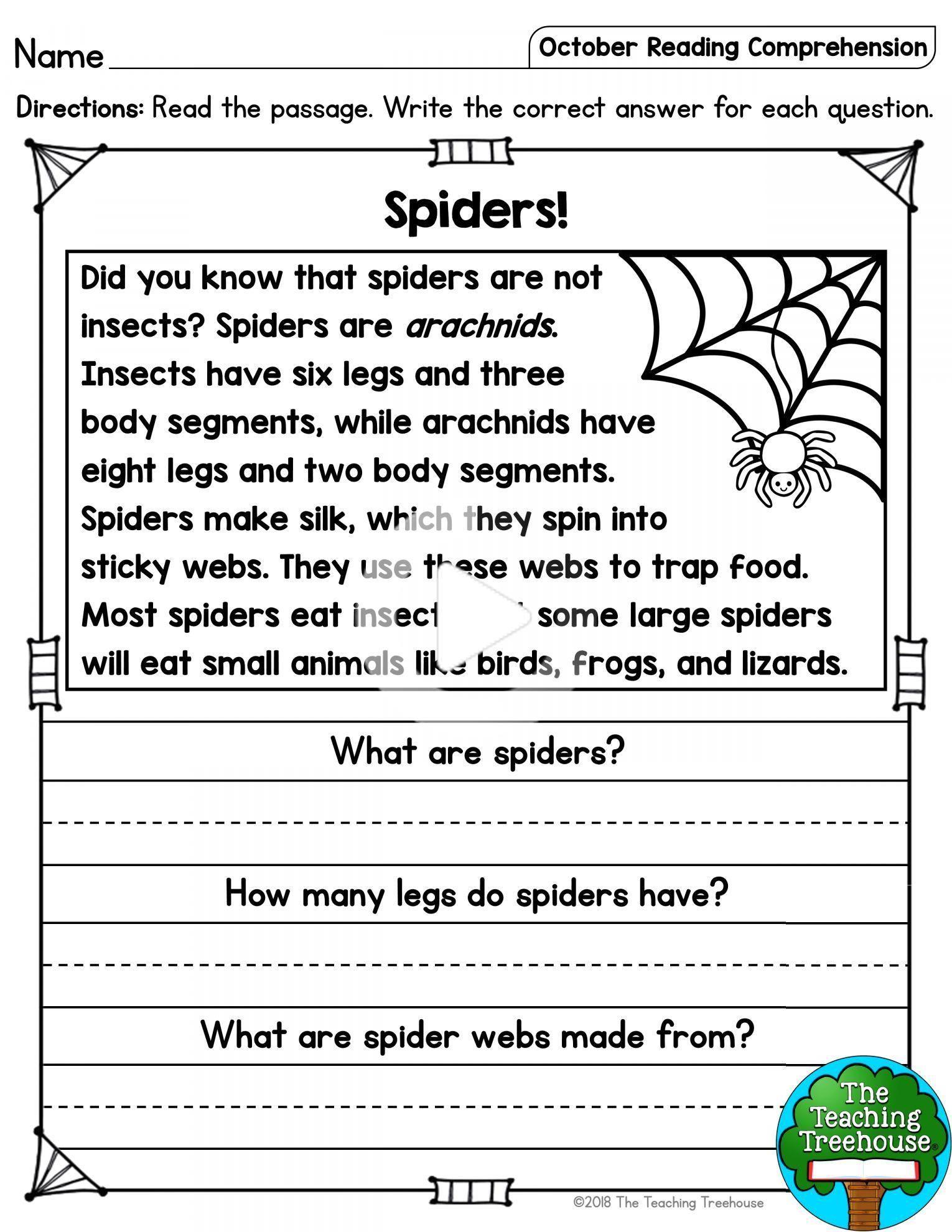 9 Spider Reading Comprehension Worksheet Reading Reading Reading Comprehension Lessons Reading Comprehension Kindergarten Reading Comprehension Passages Reading comprehension level 9