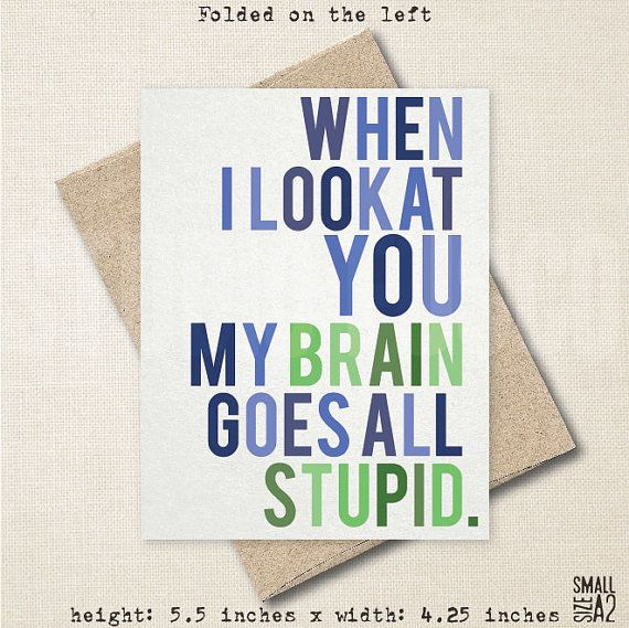 Stupid Brain - Adventure Time Card - Funny Greeting Card - Date - time card