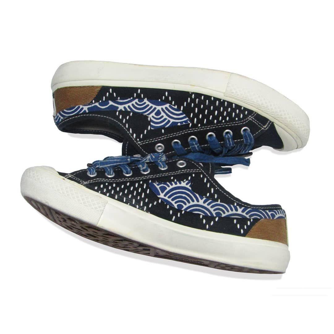 Indonesian Local Sneakers Compass Gazelle Low Custom Sashiko By Human Culture Custom Compass Sashiko Custom Shoes