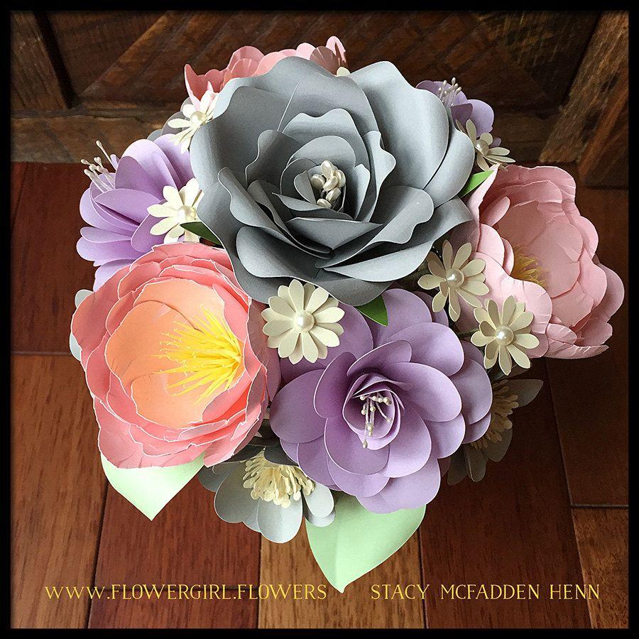 Pastel Wedding Paper Flower Centerpiece Bouquet Gift Arrangement By
