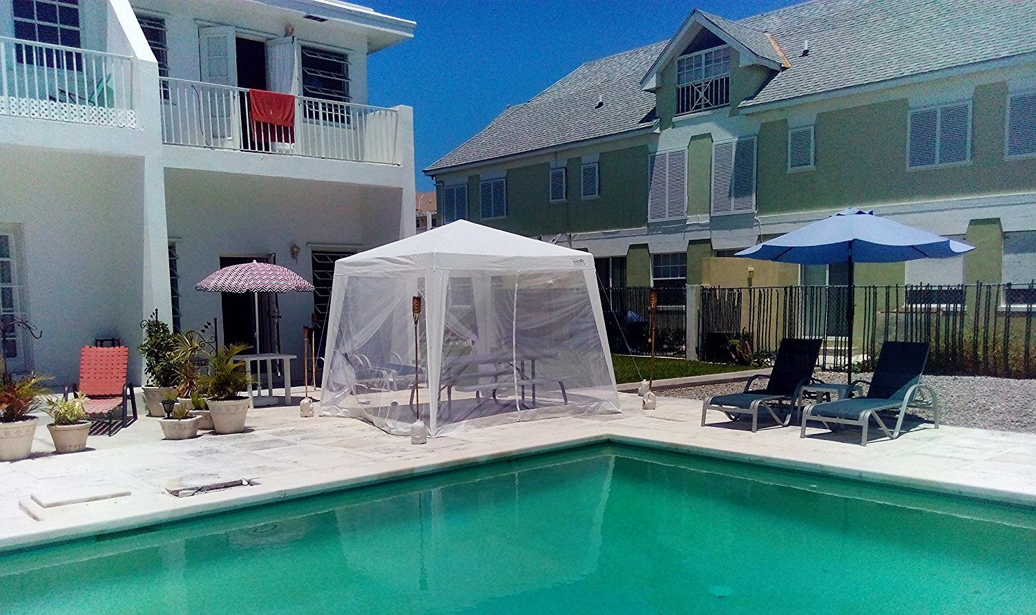 10'x10' Trapezoid White Screen Tent With Enclosed Mesh