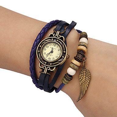 f7f4824f41b Mulheres Relógio de Moda Bracele Relógio Quartzo PU Banda Vintage ...