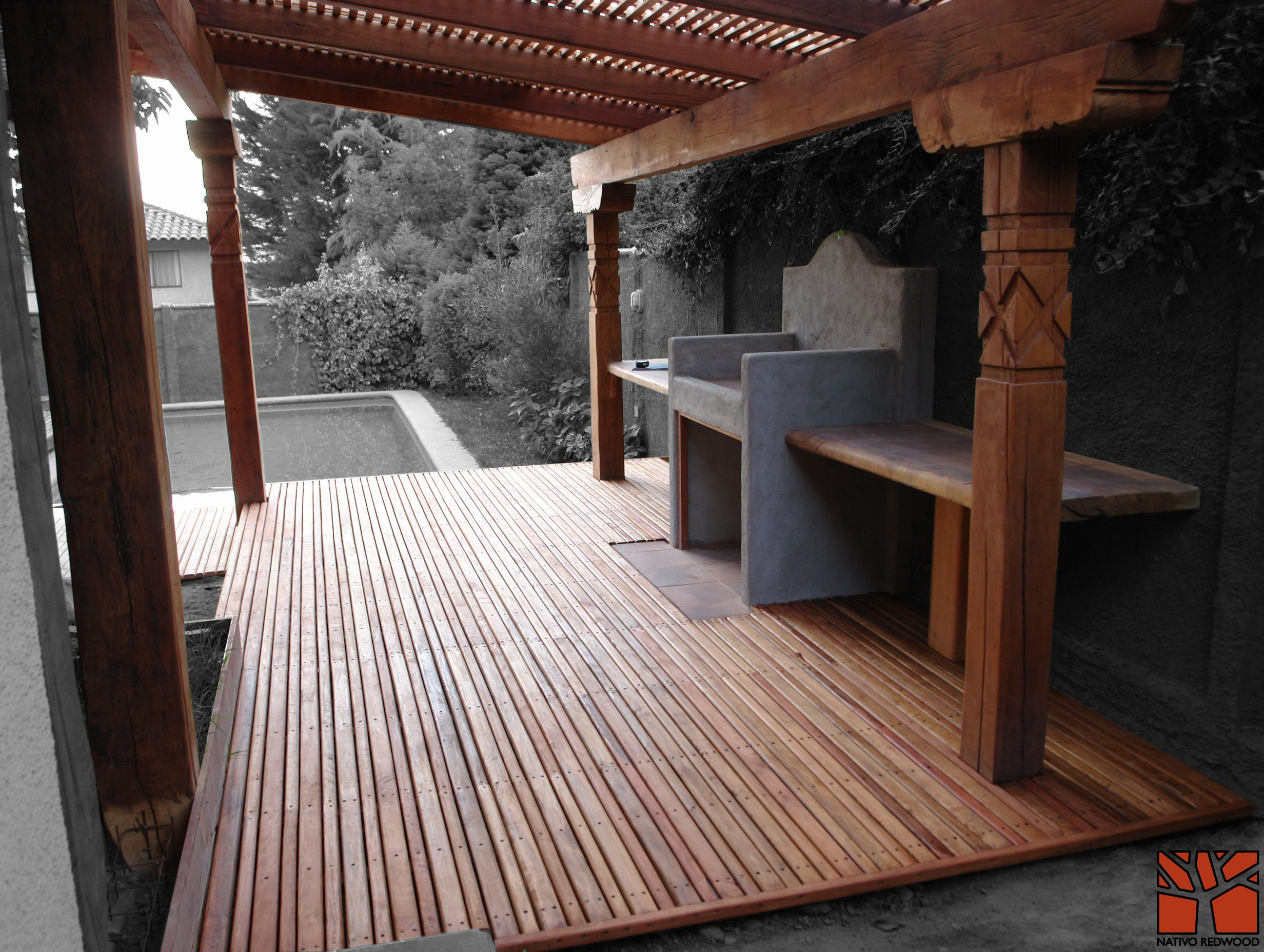 Nativo redwood terraza en casa en condominio quilin - Estructuras metalicas para terrazas ...