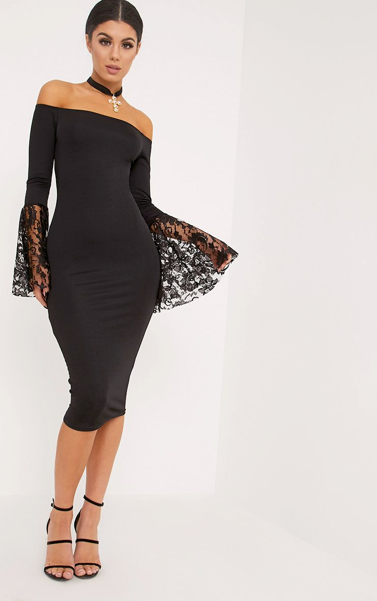 Black midi dress lace sleeves