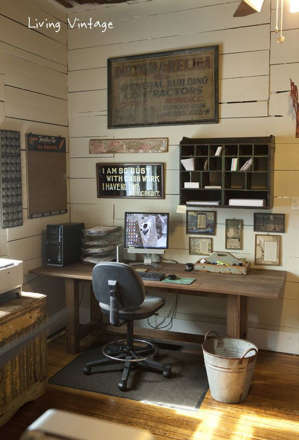 17 Rustic Office Furniture Ideas House Design And Decor Vintage Home Offices Home Office Design Home Office Decor