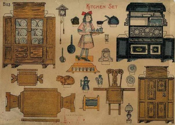 Vintage Paper Dolls And Furniture By Doll House