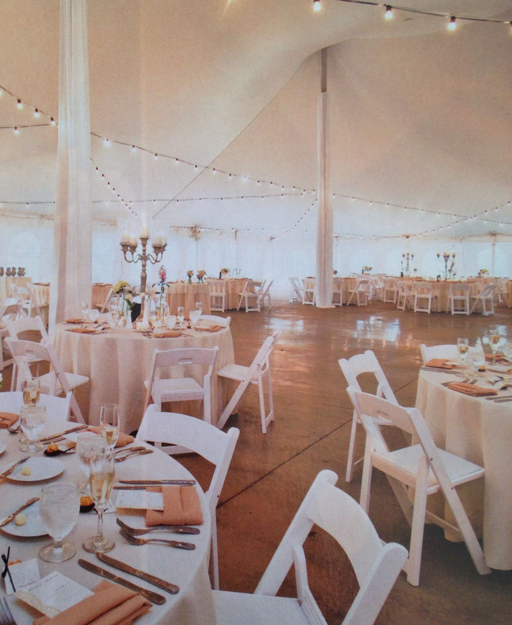 Ivory Tablecloths Beige Napkins And White Garden Chairs Color Scheme Will Go Well With The White Tented Terrace Garden Chairs White Chair Table Cloth