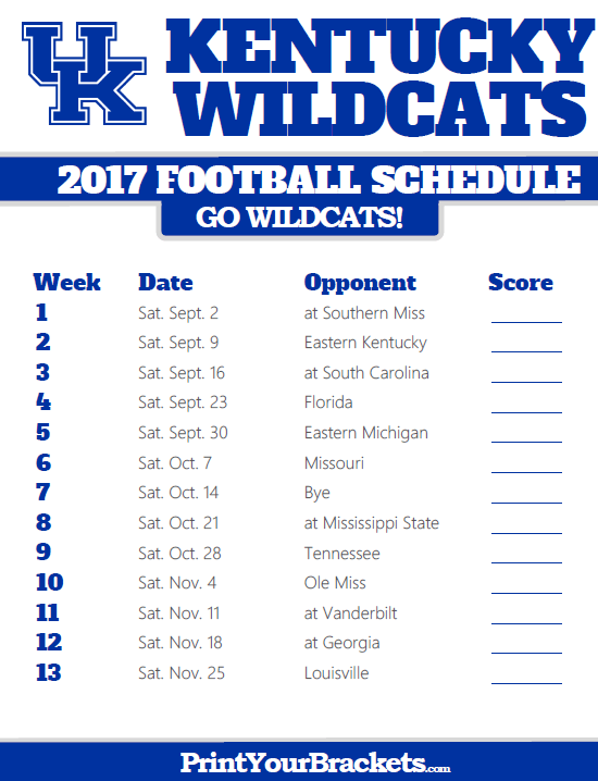 Printable Kentucky Wildcats Football Schedule Kentucky Wildcats Football Wildcats Football Wisconsin Badgers Football