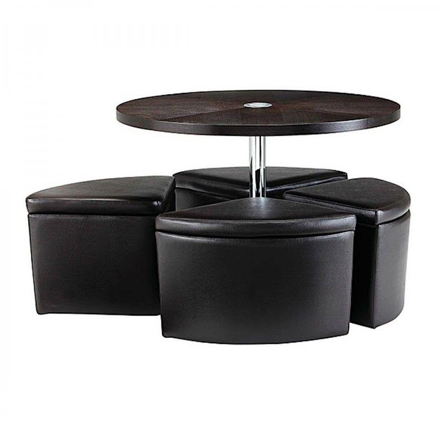Sedona Round Ottoman Coffee Table Set With 4 Ottoman Seats Along With Round  Table Top Along With Chrome Leg