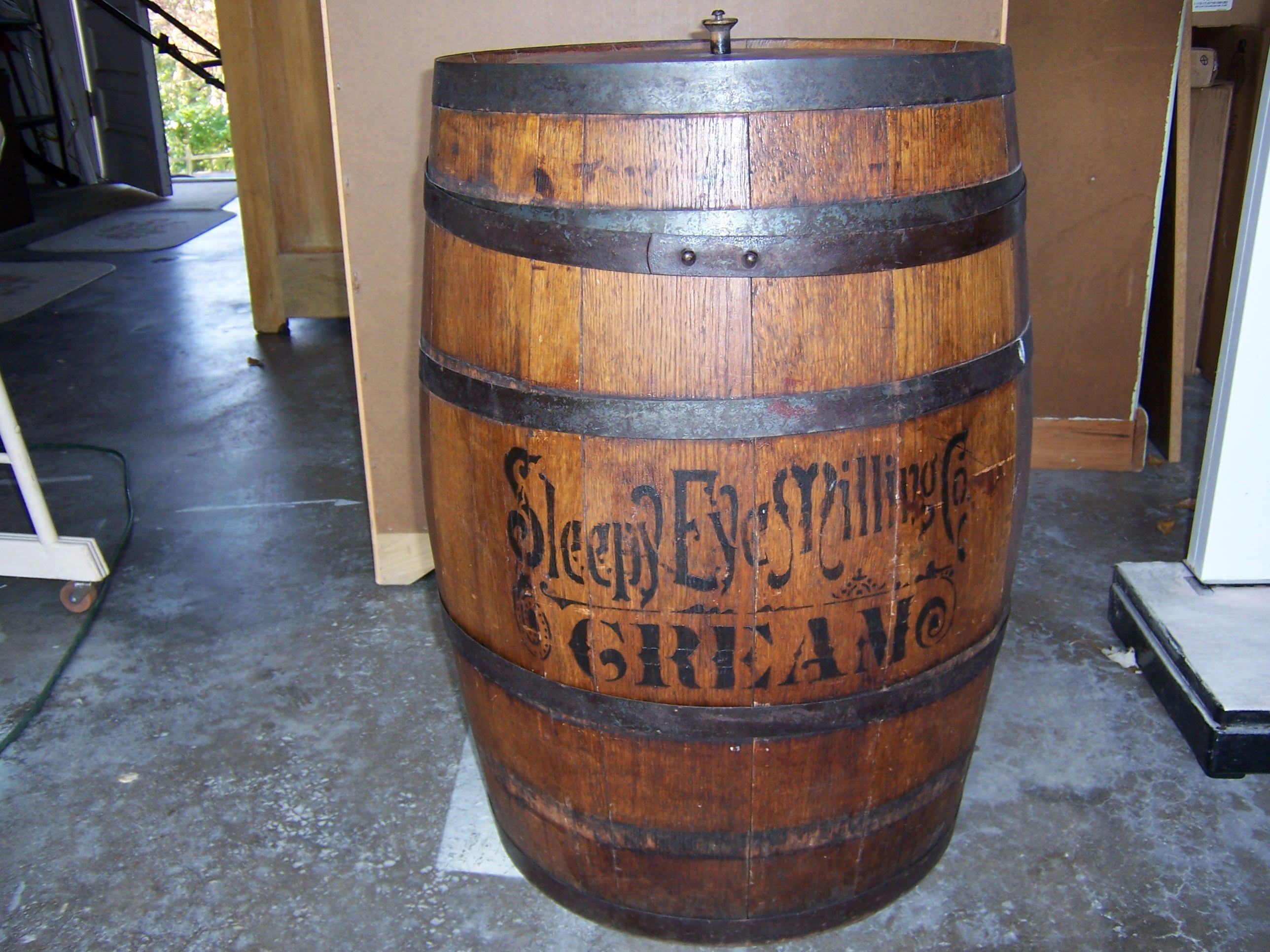 This Large Antique Flour Barrel Is One Of My Favorite Things My In Laws Gave It To Us It Is From Sleepy Eye Minn Sleepy Eye Vintage Kitchenware Antiques