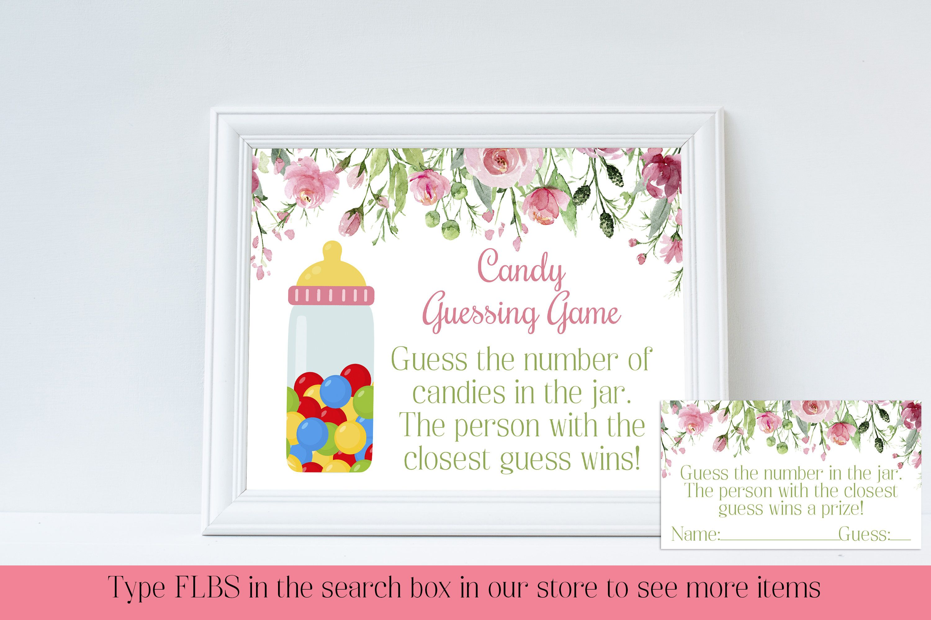 Candy Guessing Game, Guess How Many, Candy Game, Spring Baby Shower, Baby Shower Decor, Floral Baby Shower, Instant Download, FLBS